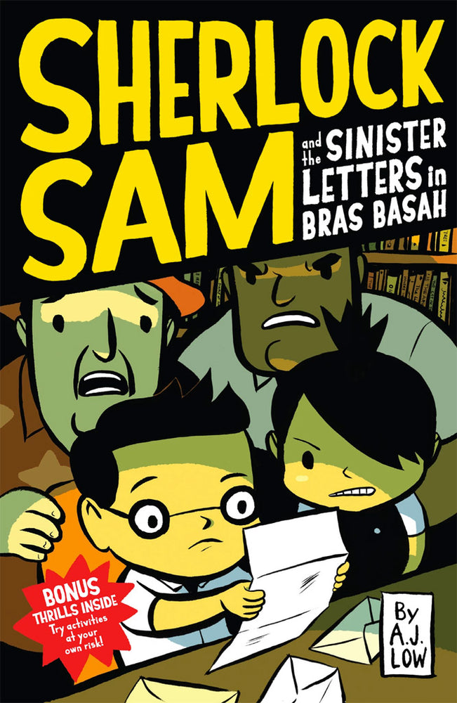 Cover of chapter book 'Sherlock Sam and the Sinister Letters in Bras Basah' by A. J. Low and Drewscape