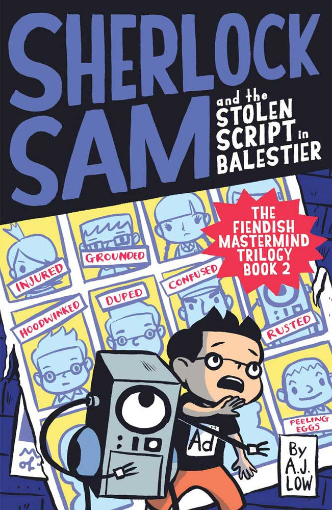 Cover of chapter book 'Sherlock Sam and the Stolen Script in Balestier' by A. J. Low and Drewscape