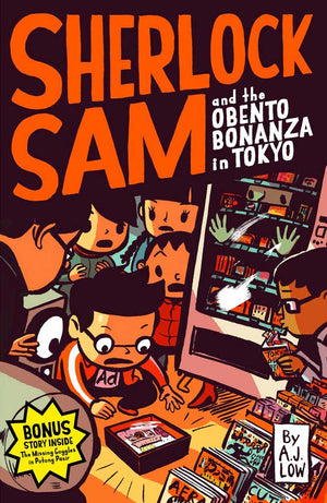 Cover of chapter book 'Sherlock Sam and the Obento Bonanza in Tokyo' by A. J. Low and Drewscape