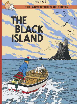 Cover of graphic novel 'The Adventures of Tintin: The Black Island' by Hergé