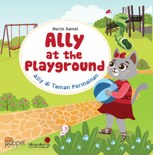 Cover of board book 'Ally at the Playground | Ally di Taman Permainan' by Norlin Samat
