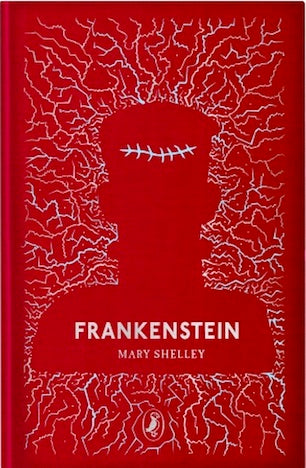 Cover of Puffin Clothbound Classics edition of 'Frankenstein' by Mary Shelley