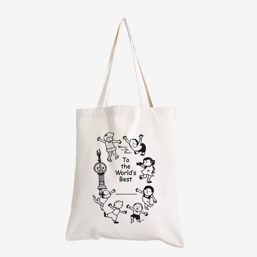 Woods in the Books 'World's Best' tote bag illustrated by Moof