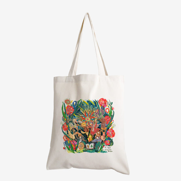 Woods in the Books 'Enchanted Bonfire 2020' tote bag illustrated by Moof