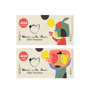 Woods in the Books $50 Voucher and $20 Voucher, illustrated by Moof
