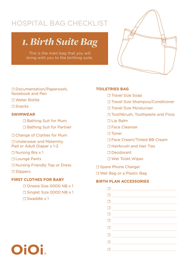 Birth suite bag packing list