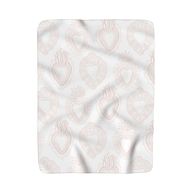 Peachy Heart Sherpa Fleece Blanket