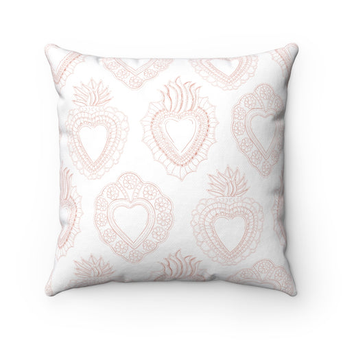 Peachy Mini Hearts Square Pillow