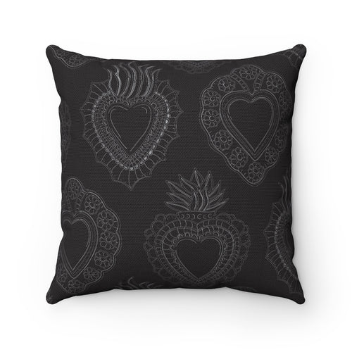 Black Hearts Square Pillow