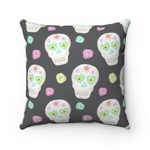 Sugar Skulls + Flowers Square Pillow
