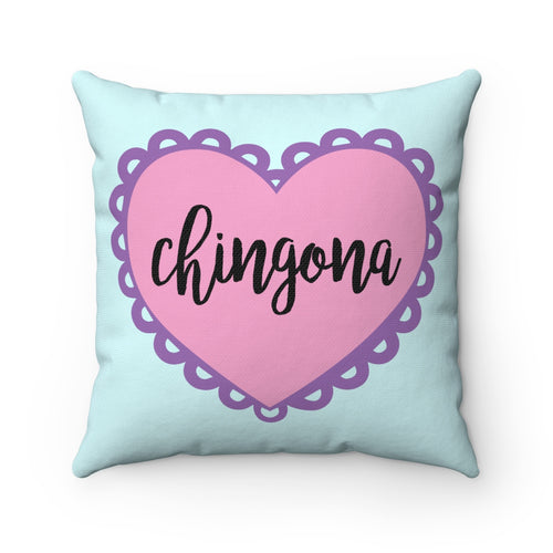 Chingona Heart Square Pillow