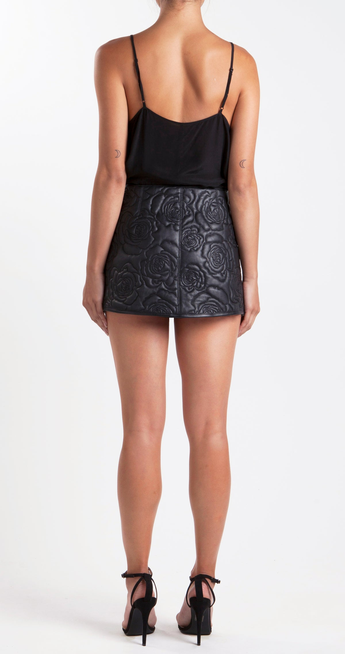 Roses In Silver Vases Embroidered Leather Skirt Back