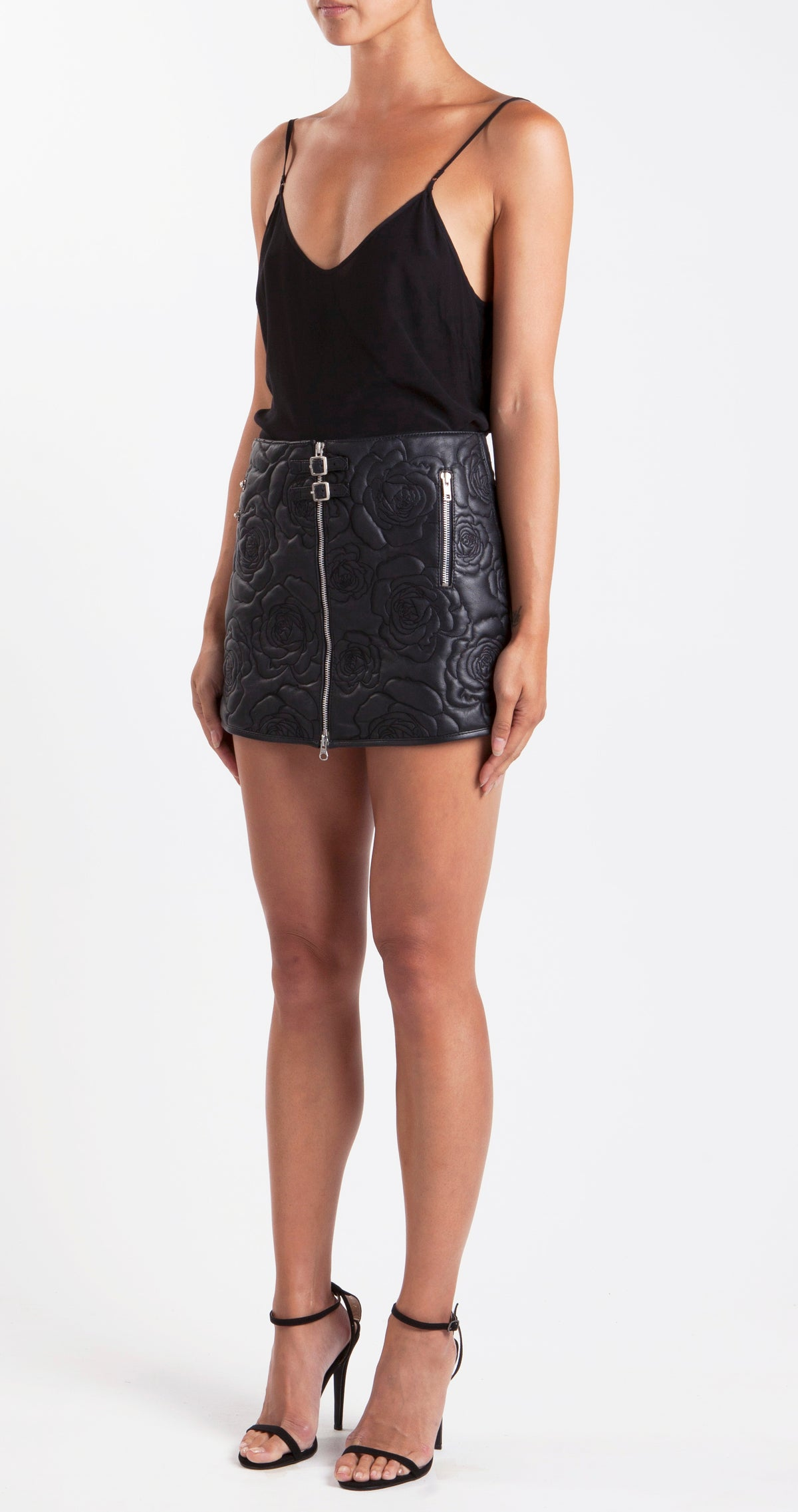 Roses In Silver Vases Embroidered Leather Skirt Side