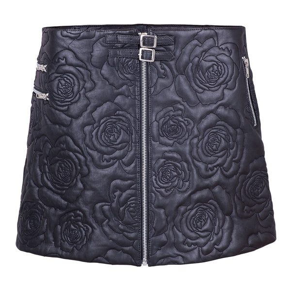 Roses In Silver Vases Embroidered Leather Skirt