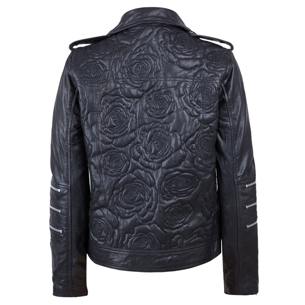 Roses In Silver Vases Embroidered Leather Jacket Back