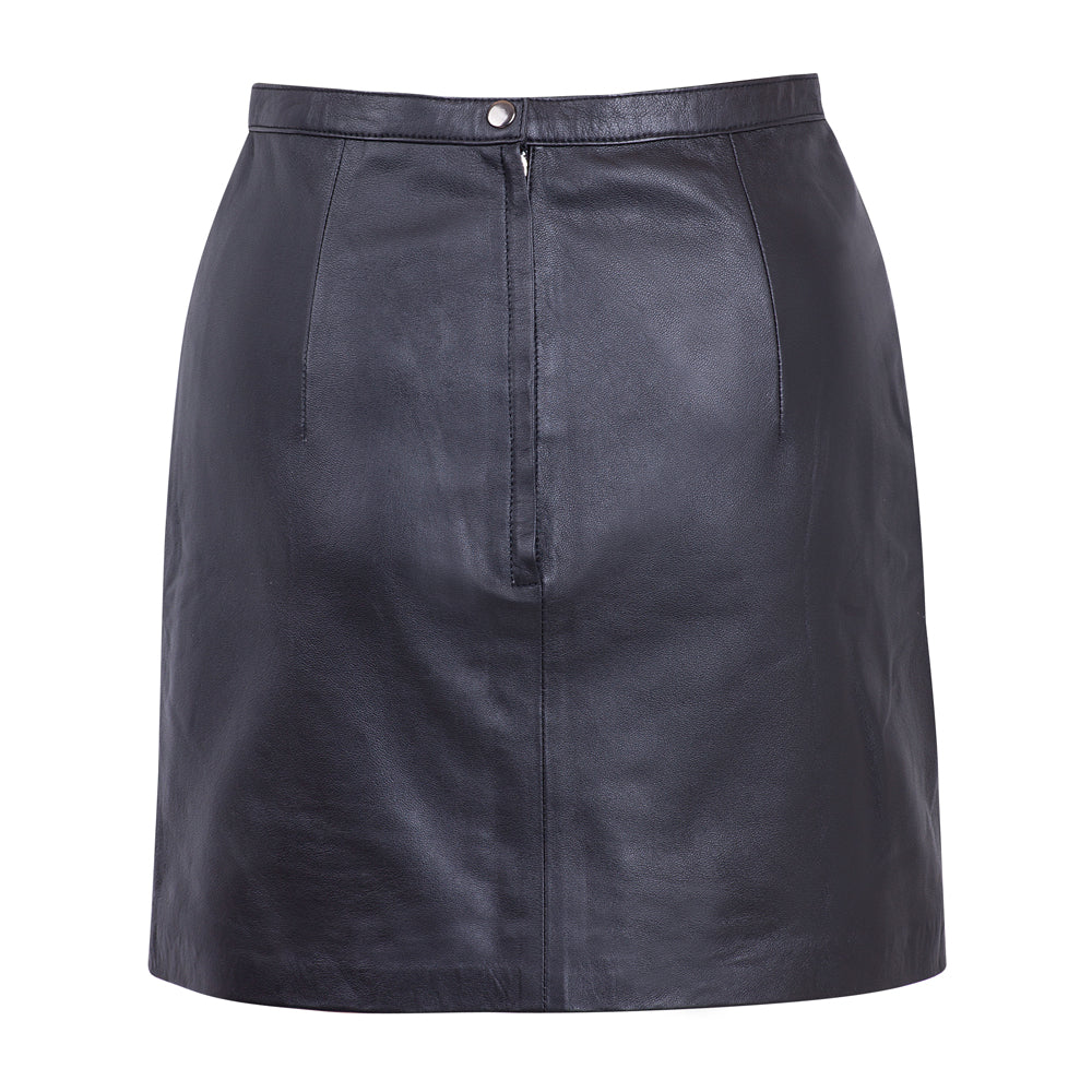 CLASSIC LEATHER SKIRT BLACK BACK