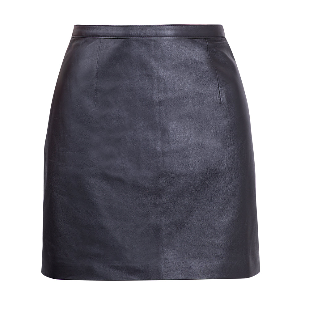 CLASSIC LEATHER SKIRT BLACK FRONT