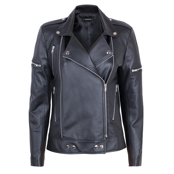 Twin Zipper Leather Jacket