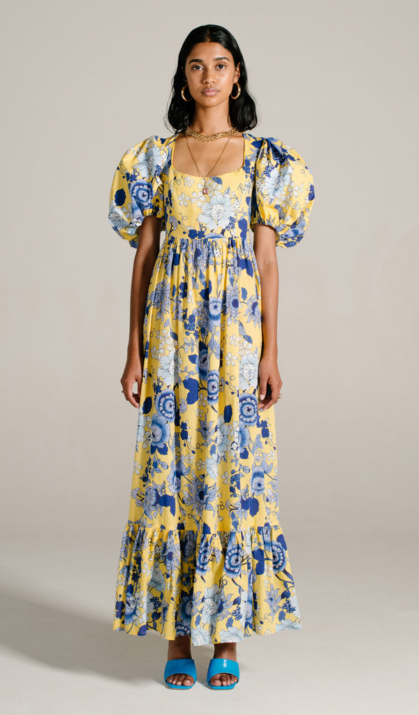 Cornflower Vol Sleeve Maxi Dress