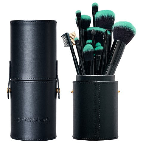 Professional Brush Set - 16-Piece Turquoise Brush Set With Cylinder