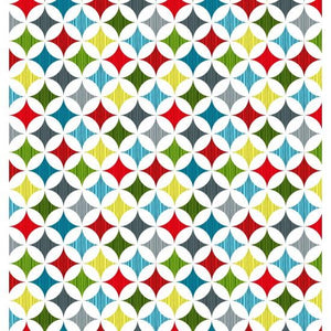 Early Birds - Stars: pure cotton quilting-weight fabric featuring multi-coloured stars in a geometric pattern - Dee's Bees