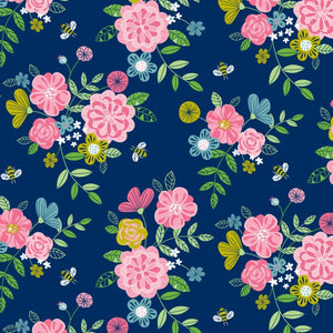 Wildflower Honey on Navy pure cotton fabric