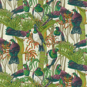Kereru in Nikau pure cotton fabric