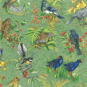 Birds of Aotearoa pure cotton fabric