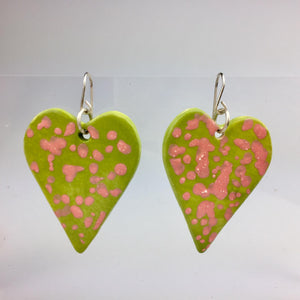 Light Green Heart Clay Earrings Small