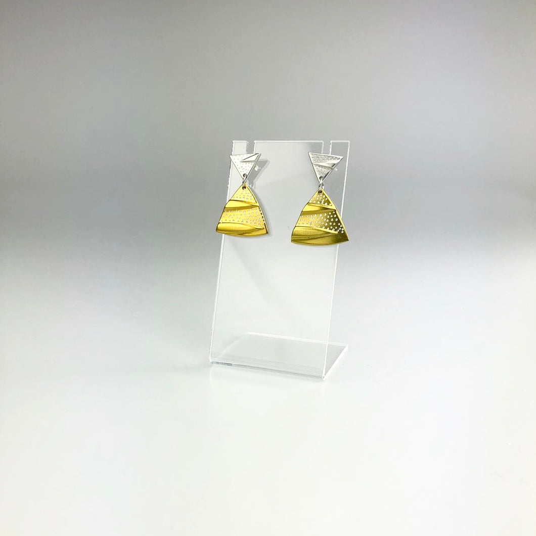 'Triangle' Earrings in Silver and Gold