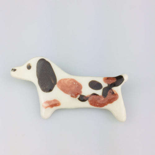 Multicolour Spotted Dog Clay Brooch