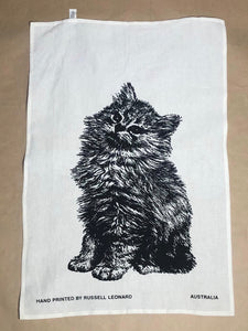 'Fluffy Kitten' Tea Towel