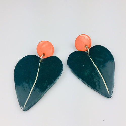 Dark Green and Orange Heart Leaf Earrings