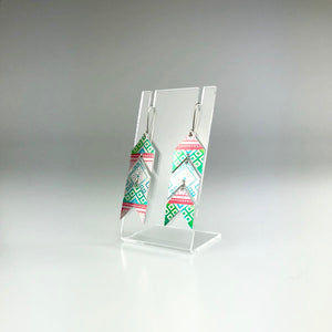 'Chevron' Earrings in Green, Red and Blue