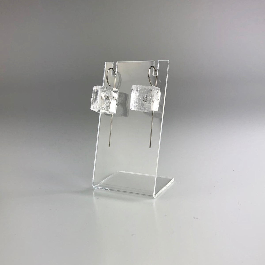 Mineralist Earring in Clear Cubed