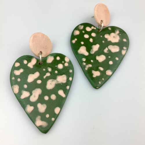 Dark Green Heart Clay Earrings Large