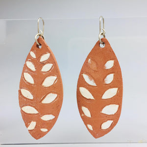 Terracotta Leaf with Cream Leaf Detail Earrings Large