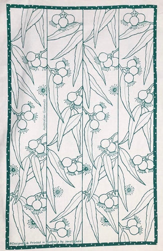 Green 'Australian Gumnuts' Tea Towel