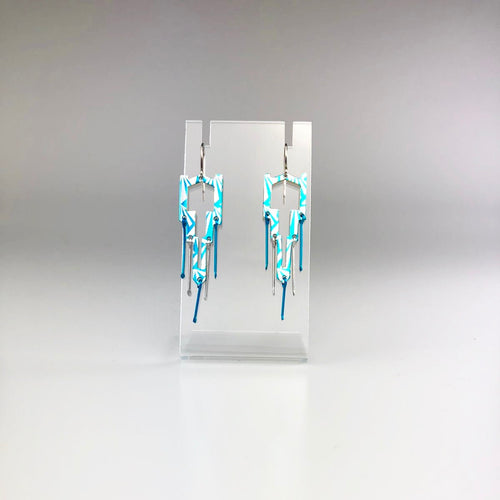 Earrings in Blue and Silver