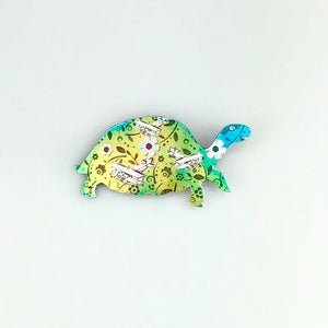 Turtle Brooch in Yellow, Green and Blue
