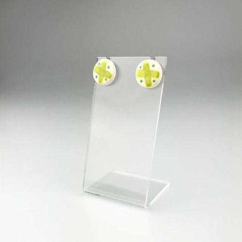 Ceramic and Silver Stud Earrings in Two-tone Green