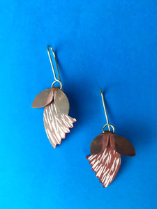Red and White Sterling Silver and Copper Patina Earrings