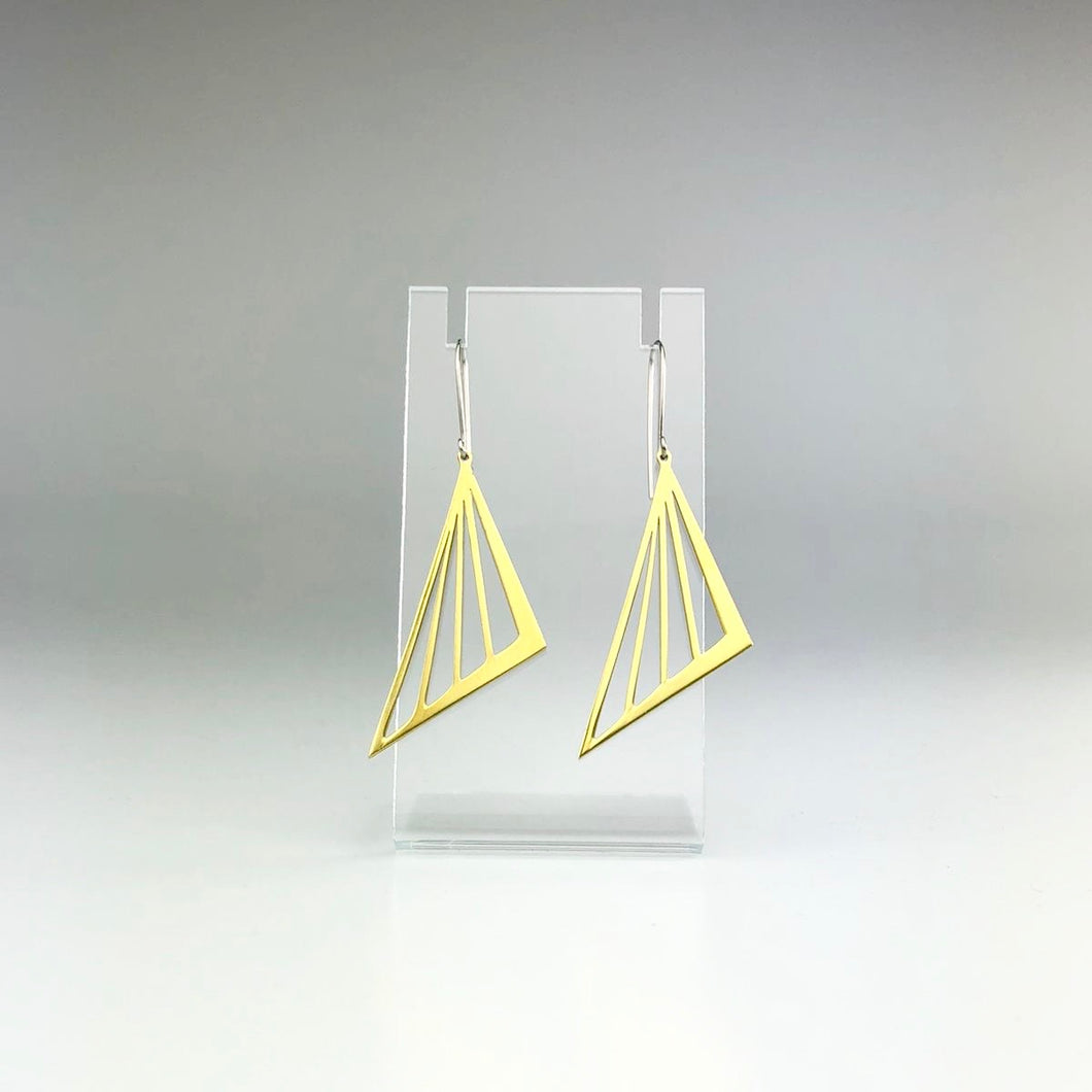 'Triangle Cutout' Earrings in Green Gold