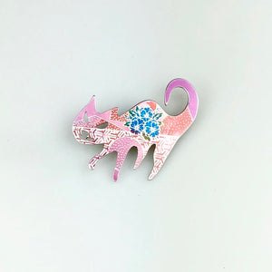 Cat Brooch in Pink, Red and Blue