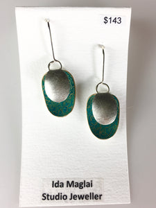 Turquoise Sterling Silver and Gilding Metal Earrings