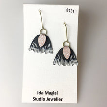 Black Sterling Silver and Copper Patina Earrings
