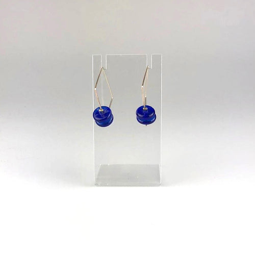 Recycled Skyy Glass Square Drop Earrings