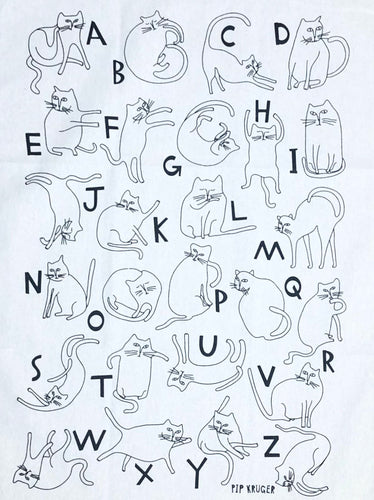 'Kitty Alphabet' Tea Towel