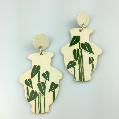 Elephant Ear Curvy Vase Clay Earrings