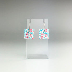 'Sqaure Flowers' Earrings in Blue and Red